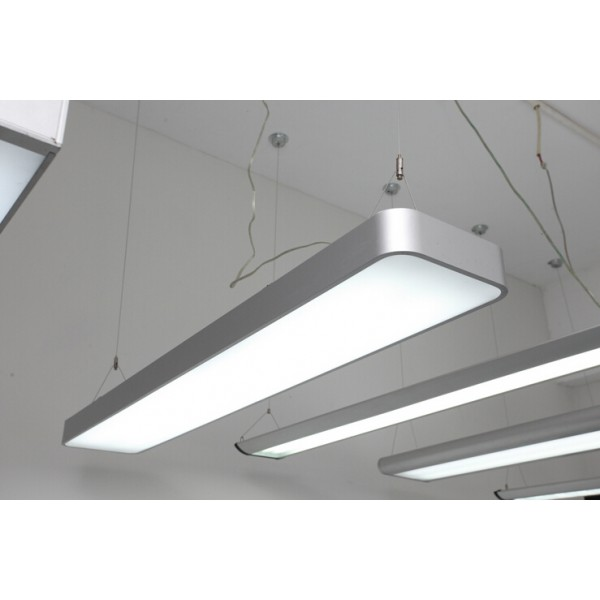 Suspended Linear LED Light 1200mm/4ft - Silver Anodised Aluminum (4,500lm) 51W