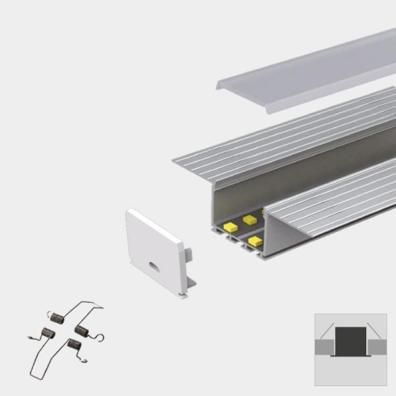 plaster in recessed slim led profile for led strip aluminium led channel c w diffuser end caps. Black Bedroom Furniture Sets. Home Design Ideas
