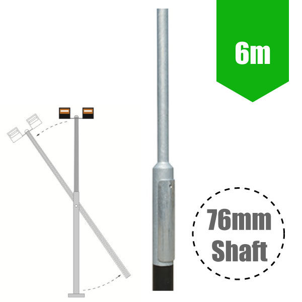 6m Mid-Hinged Lighting Column - Galvanised Street Lamp Post Root Mounted