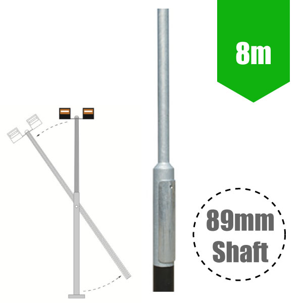 8m Mid-Hinged Lighting Column - Galvanised Street Lamp Post Root Mounted