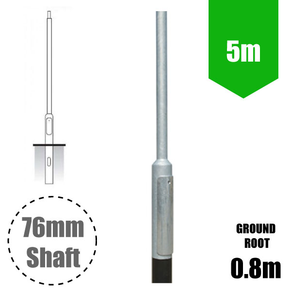 5m Lighting Column - Street Lamp Post Root Mounted Steel Galvanised (76mm Shaft/140mm Base)