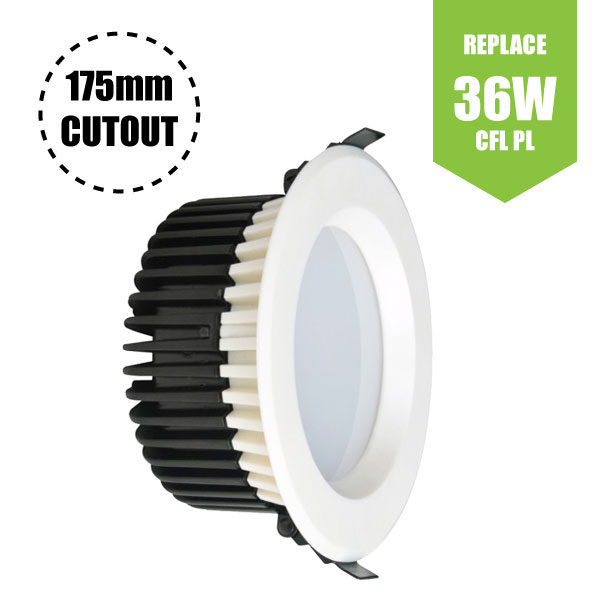 "LED Downlight White Recessed (18W - 6"" -1400lm)Commercial 175mm cutout"