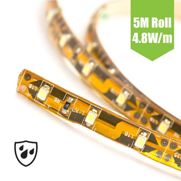 SMD3528 12V Flexible LED Strip - 5m 4.8W/m (60 LED/m) - Single colour IP65
