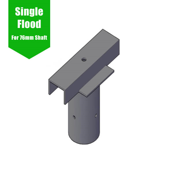 Lamp Post Floodlight Bracket - Single T-Bar for 76mm Lighting Pole