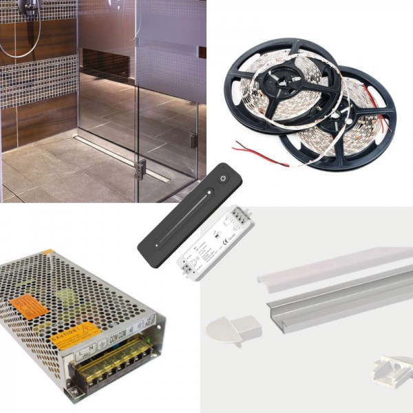 LED Strip Complete Bathroom Wetroom WC Kit - Includes LED Strip Tape, LED Profile, Driver + Remote Dimmer, 5m Cable SMD3528 24V - Single Colour IP65