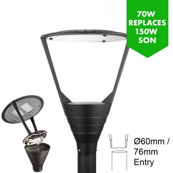 LED Premium Post Top Lantern - Car Park / Street Light Luminaire 70W/8,050lm - 3-8m Column Street Lighting Fixture 76mm entry