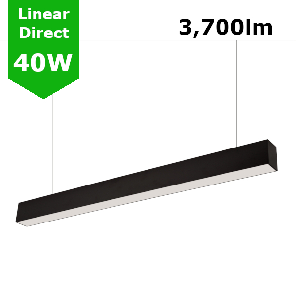 Suspended/Surface Mount Linear LED Direct Downlight Luminaire 1200mm/4ft - Black (3,700lm) 40W