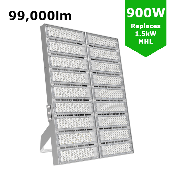 LED High Mast Flood Light 900W / 99,000lm IP65, IK09 [Symmetric / Asymmetric]