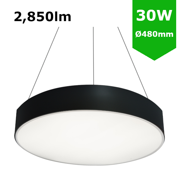 LED Round Surface Mount/Suspended Downlight Ø480mm - 30W (2,850lm) Black Casing