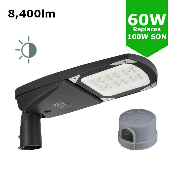 LED Premium Street Light 60w c/w Photocell NEMA Dusk til Dawn Sensor