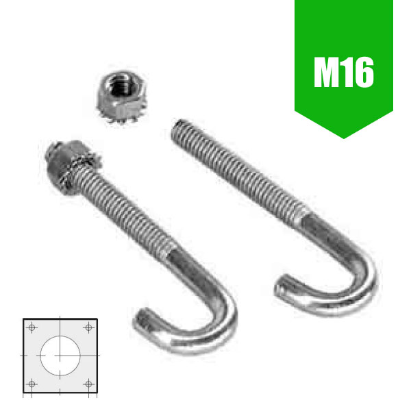 M16 Foundation Bolt Set for Flange Plated Column (3-6m / 140mm Base)