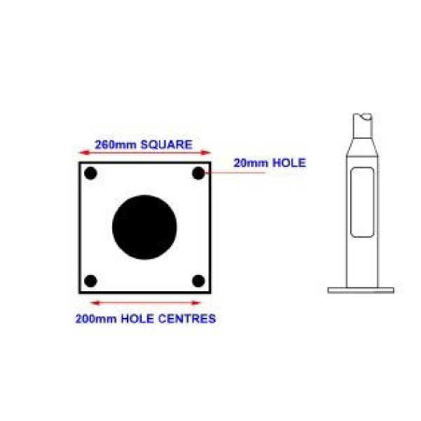 260mm Flange Plate Foundation Template (200mm hole centres) for M16 Hole - 140mm Base Lighting Column