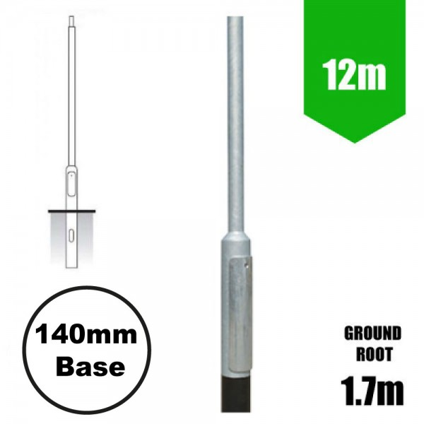 12m Lighting Column - Street Lamp Post Root Mounted Steel Galvanised (168mm shaft / 192mm Base)