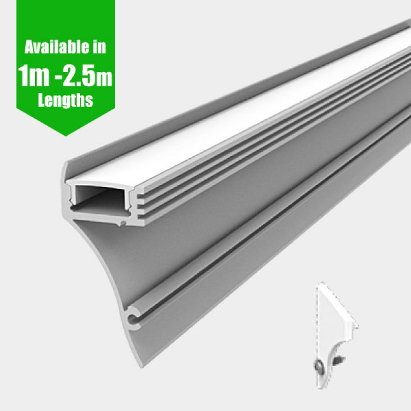 cove led profile for led strip surface mount aluminium led channel c w diffuser end caps. Black Bedroom Furniture Sets. Home Design Ideas