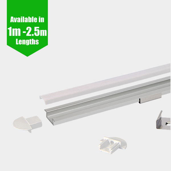 LED Profile - RECESSED / Aluminium Channel for LED Strip series - 1m/2m/2.5m length c/w LED Strip Diffuser