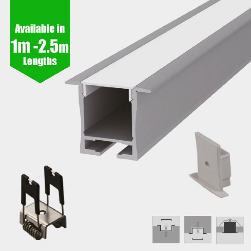 Deep Recessed Ceiling LED Profile for LED Strip - Aluminium