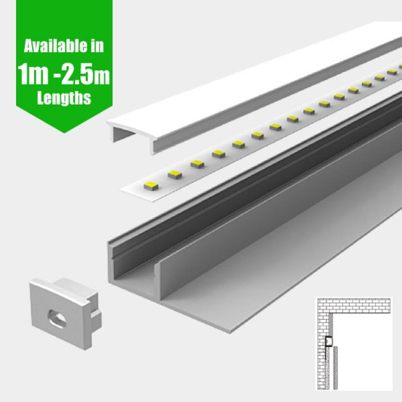 Recessed Tile Edge LED Profile for LED Strip - Aluminium LED Channel