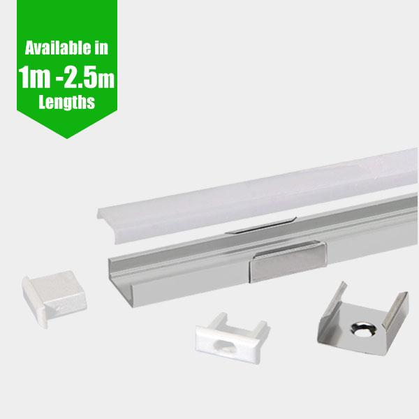 LED Profile - SLIM / Aluminium Profile for LED Strip series - 1m/2m/2.5m length c/w LED Strip Diffuser