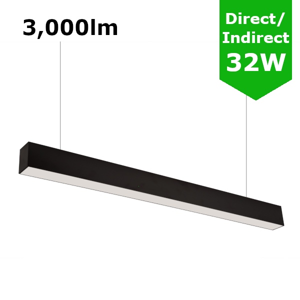 Suspended Linear LED Direct Indirect Light 1200mm/4ft - RAL Black (3,000lm) 32W