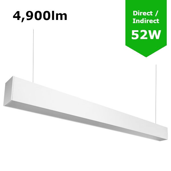 Suspended Linear LED Light Up/Down Light 1200mm/4ft - RAL White (4,900lm) 52W