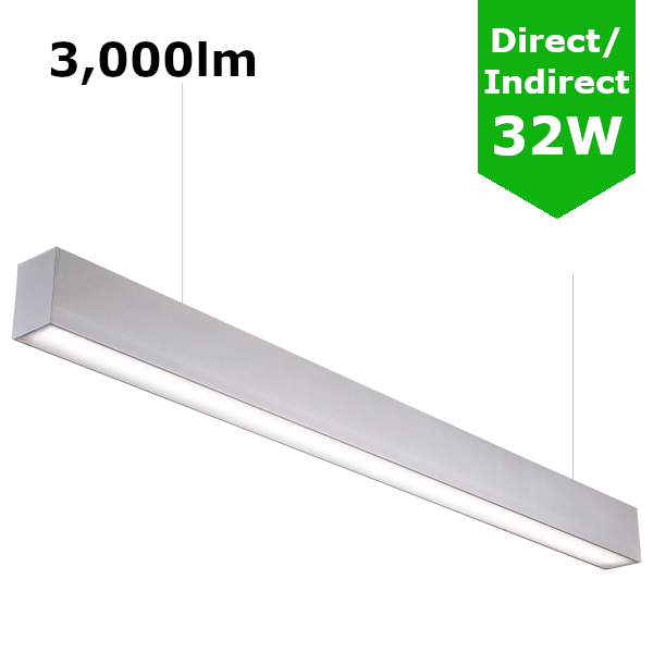 Suspended Linear LED Light Up/Down Light 1200mm/4ft - Silver Anodised Aluminum (3,000lm) 32W