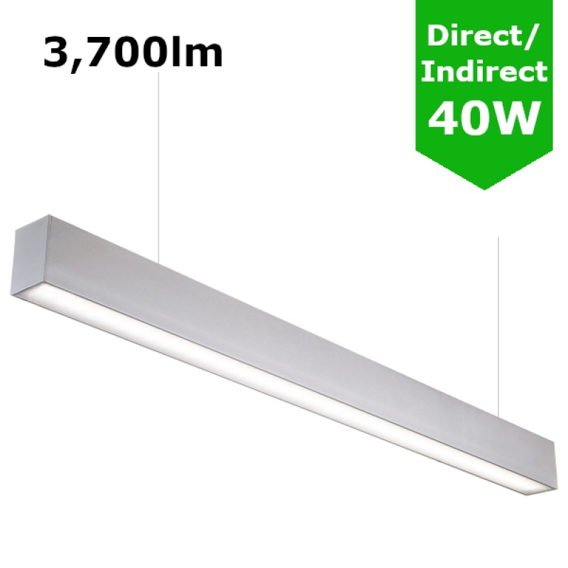 1200mm 4ft linear suspended led direct indirect light silver anodised aluminum 3 700lm 40w. Black Bedroom Furniture Sets. Home Design Ideas