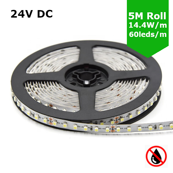 SMD5050 24V Flexible LED Strip - 5m 14.4W/m (60 LED/m) - Single colour IP21