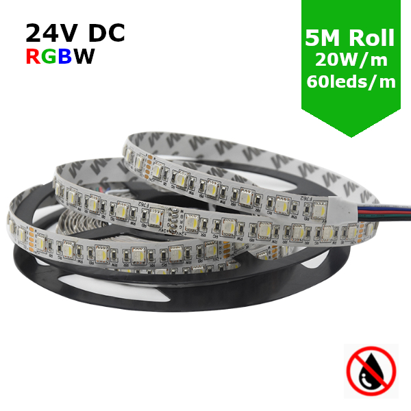 24V Flexible LED Strip RGBW Colour changing SMD5050 - 5m 20W/m (60 LED/m) - IP21