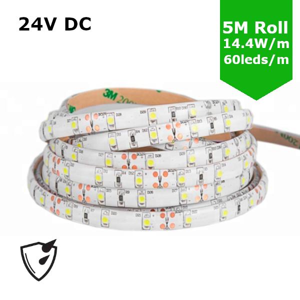 SMD5050 24V Flexible LED Strip - 5m 14.4W/m (60 LED/m) - Single colour IP65