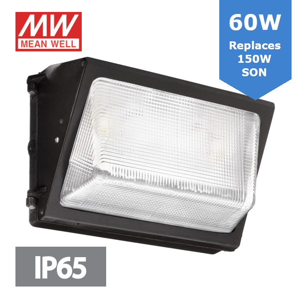 LED Wallpack - 60W 7,200lm - Die-cast aluminium Body with 5mm Glass - Replacement for 150W SON Replacements